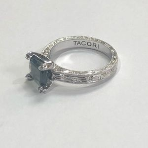 Tacori Solitaire Emerald  Sterling Silver Ring